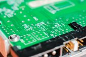 stock photo of transistor  - micro electronics main board with processors diodes transistors