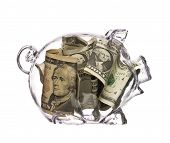 picture of piggy_bank  - Piggy Bank in transparent glass with dollars - JPG