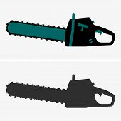 pic of chainsaw  - Set of two Chainsaws on grey background - JPG