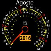 picture of august calendar  - 2016 year calendar speedometer car in Spanish - JPG
