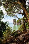 foto of james bond island  - High angle view beautiful landscape sea and sky at Khao Tapu or James Bond Island in Ao Phang Nga Bay National Park Thailand - JPG