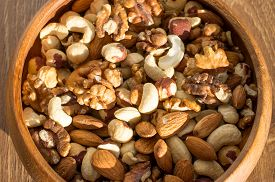 stock photo of mixed nut  - Nut mix from a variety of nuts - JPG