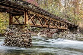 picture of smoky mountain  - Great Smoky Mountains Stream under Metal Bridge - JPG