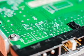 image of transistors  - micro electronics main board with processors diodes transistors