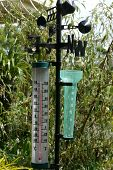 Garden thermometer, rain gauge and weather vane