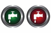 Two buttons with water tap