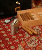 Cigars, humidor,  hip-flask, wrist watch