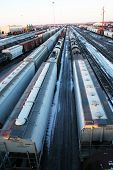 stock photo of railcar  - railcars as far as the eye can see - JPG