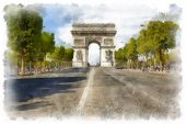 The Arc de Triomphe, a famous monument in Paris