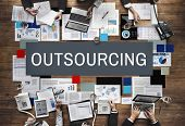 Outsourcing Function Tasks Contract Business Concept poster