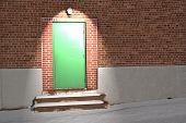 Green Door Under Light