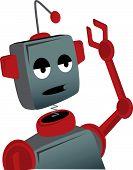 Bored Sad Cartoon Robot Waves