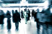People Walking In A Modern Interior, Motion Blur.