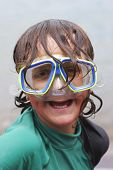 pic of dorky  - boy with diving mask on looking like a right plonker - JPG
