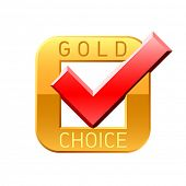 stock photo of gold medal  - Gold choice tick - JPG