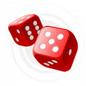 stock photo of dice  - Vector red dices - JPG