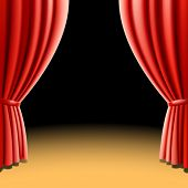 Red theater curtain on black background. Vector illustration.