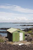 stock photo of scoria  - a weathered boat shed sits on the rocky shore of rangitoto island hauraki gulf new zealand - JPG