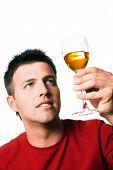 stock photo of bimbo  - Man is tasting vine - JPG