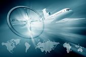 Airplane, Compass, Continent Maps On Blue  Background