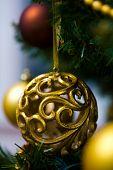 Ornaments on Christmas tree at Christmas Eve.