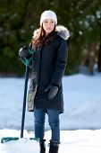 Woman Shoveling Too Much Snow