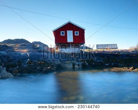 Rural Norwegian Landscape Traditional Red