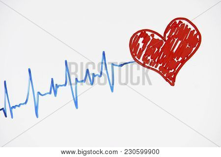 poster of Cardiogram Pulse Trace And Red Heart Concept For Cardiovascular Medical Exam On A White Background W
