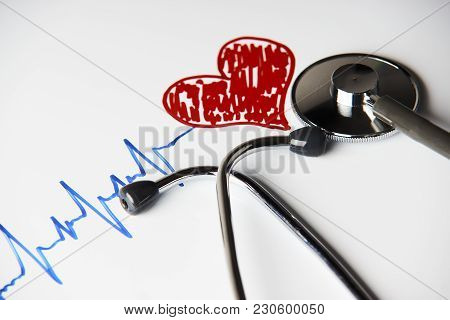 poster of Cardiogram Pulse Trace With Red Heart And Medical Stethoscope Concept For Cardiovascular Medical Exa