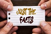 Handwritten Text Sign Showing Just The Facts. Business Concept For Truth Fact Accuracy Honest Concep poster