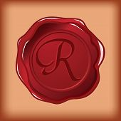 seal wax monogram of letter R
