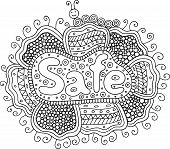 Coloring Page For Adults With Mandala And Safe Word. Doodle Lettering Ink Outline Artwork. Vector Il poster