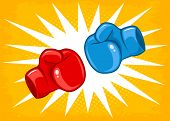 Vector Retro Poster For A Boxing With Two Gloves. Retro Emblem For Boxing With Red And Blue Gloves. poster