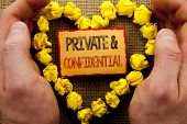 Conceptual Writing Showing Private And Confidential. Business Photo Showcasing Security Secret Sensi poster