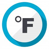 Fahrenheit blue flat design web icon poster