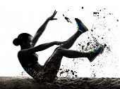 one african athlete athletics long jump woman isolated on white background silhouette poster