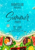 Summer Party Poster Invitation. Top View On Summer Decoration With Fresh Cocktails And Tropical Frui poster
