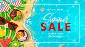 Promo Web Banner Template For Summer Sale. Top View On Summer Decoration With Realistic Objects On B poster