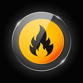 Fire Warning Dangerous Flame Attention Icon Icon. Flammable Danger Symbol, Filled Flat Sign, Solid P poster