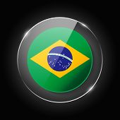 Brasil National Flag. Application Language Symbol. Country Of Manufacture Icon. Round Glossy Isolate poster