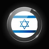 Israel National Flag. Application Language Symbol. Country Of Manufacture Icon. Round Glossy Isolate poster