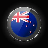 New Zealand National Flag. Application Language Symbol. Country Of Manufacture Icon. Round Glossy Is poster