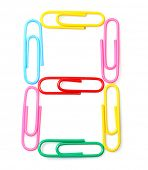 Colorful number eight from paperclips. One part of funny school or office alphabet.