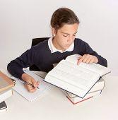 Colegiala consultar un diccionario al escribir un ensayo