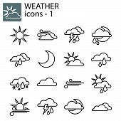 Web Line Set. Weather Set. Weather Forecast Set For The Site poster