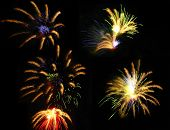 picture of 24th  - Colorful fireworks over dark sky displayed during Barcelona Patron Saint La Merce  - JPG