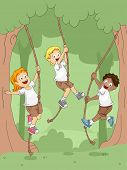 Illustration of Kids Swinging with Ropes