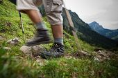 hiking in high mountains (motion blurred image)