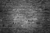 Old Brick Wall As Background, Texture Or Pattern. Dark Wall. Poster Or Cover. Black And White Brick  poster