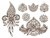 Henna Tattoo Mehndi Flower Template Doodle Ornamental Lace Decorative Element And Indian Design Patt poster